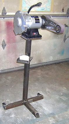 Grinder Stand by dragginbalz -- Homemade grinder stand fashioned from square tubing and steel plate. Caster-mounted for enhanced mobility. http://www.homemadetools.net/homemade-grinder-stand-6