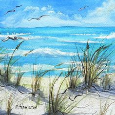 Seascape Watercolor Painting Sea Oats Sand and Sea Art, Scrapbook