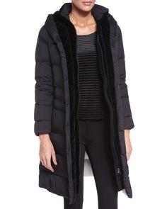 Hooded Long Puffer Jacket, Black