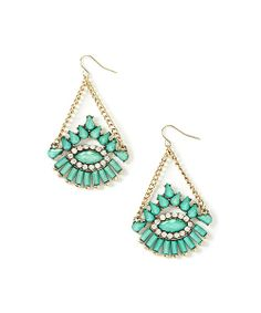 Take a look at the Turquoise & Gold Glitz Drop Earrings on #zulily today!