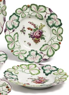 A pair of Longton Hall 'strawberry leaf' small circular stands circa 1755 similarly decorated to the preceding lot. Strawberry Leaves, Chelsea, China Display, China Patterns, Small Plates, Antique Glass, China Porcelain, Stoneware, Tea Party