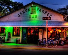 Green Parrot Bar - the oldest bar in Key West, an open-air place with live honky-tonk music that starts around 5:30 pm, with no cover charge. The locals pour in to drink working-class stuff, nothing too fancy. And heck yes, people dance! (Key West, FL)