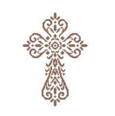 Christian Cross - cross stitch Pattern Holy cross religious cross stitch Christmas easter cross stitch  CROSS STITCH PATTERN (Intermediate Level / INTERMEDIATE LEVEL) (Patterns are in both Single page and multi-page enlarged format for easy reading) Instant download after buying.  This is a simple but elegant cross pattern, that I hope you would enjoy stitching for your family and friends.   ~~~Dimension of the pattern 75 (W) x109 (H) stitches  Finished Dimensions of aida 10 ct aida - 19...