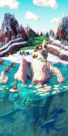 """""""Polygonal Posters"""", une magnifique série de paysages 3D aux polygones grossiers, réalisés par JR Schmidt avec Cinema 4D"""