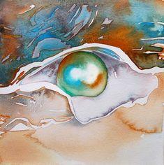 """Pearl watercolor 7.5"""" x 7.5""""  2014 Bubbles"""