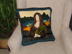 Mona Lisa Hand Felted Throw Pillow