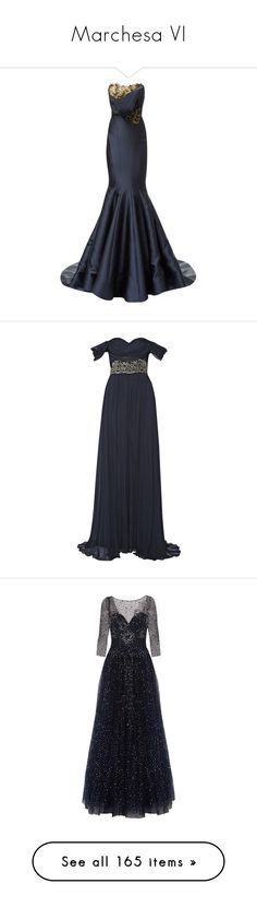 """""""Marchesa VI"""" by sakuragirl ❤ liked on Polyvore featuring dresses, gowns, long dresses, marchesa, vestidos, blue gown, embroidered dress, blue dress, blue ball gown and evening gowns"""