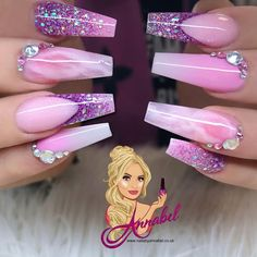Birthday nails 💕Pretty Princess💕 I used Glamandglits :- Made in Sweet I'm the one Innocent sin Cashmere Jaunty Rose Quartz using all Glitterbels :-… Colored Acrylic Nails, Summer Acrylic Nails, Best Acrylic Nails, Acrylic Nail Designs, Nail Art Designs, Purple Nails, Bling Nails, My Nails, Nail Swag