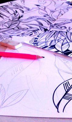 Maquette, dessin au crayon et feutre pour une future fresque murale
