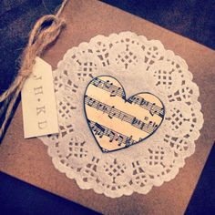 Rustic music note sheet invite by EmilieRoseWedding on Etsy, £2.50