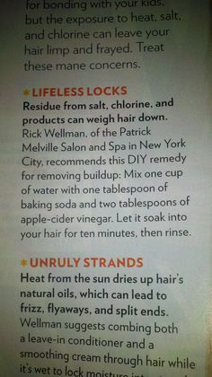 Summertime hair cleanse