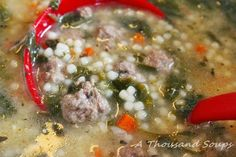 Italian Wedding Soup - as close to my recipe I can get. I add quite a bit of Italian seasoning to the broth as well.