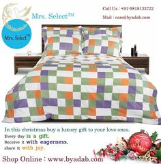Shop Online : http://www.byadab.com/our-brands/bed-linen/mrs-select.html Make these 'By ADAB' double bed sheet set as part of your memories with its traditional box and line print. The beautiful combination of colors add to the charm of this appealing bed sheet. This 110 x 100 inches double bed sheet comes with two matching pillow covers measuring 18 x 27 inches.