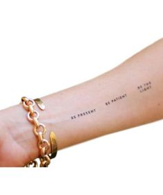 A sheet of six meditational mantras in the form of temporary tattoos will let her live on the wild side while remaining centered. Also in gold.