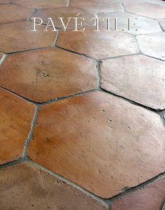 Choosing floor tile for new house, renovation, new build, or remodel: Farmhouse Provençal Tomette Terra Cotta Tile Flooring Farmhouse Flooring, Kitchen Flooring, Kitchen Tiles, Rustic Tile Flooring, Bathroom Flooring, Kitchen With Tile Floor, Dark Flooring, Ceramic Flooring, Porch Flooring