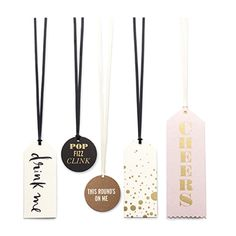 Kate Spade New York Champagne or Wine Bottle Gift Tag Set - Gold, Black, White & Pink - Perfect for a Party - Shop with the Girlfriends at girlfriendgalas.com