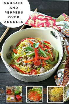 """Sausage and Peppers"" served over Zucchini Nooldes (Zoodles) by @EverydayMaven"