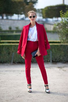 Red blazer, trousers, white and black heels. white blouse. Elegant spring street women fashion outfit clothing style apparel @roressclothes closet ideas