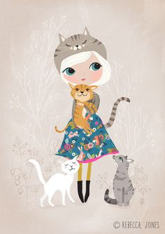 marr-tb:  A cat loving girl, wearing a dress made from my Cuckoo Folk fabric. (Rebecca Jonesから)