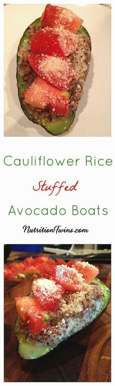 Cauliflower Rice Stuffed Avocado Boats   Only 140 Calories   Creamy & Crunchy   Satiating 9 grams Fiber   For MORE RECIPES, Nutrition & Fitness Tips please SIGN UP for our FREE NEWSLETTER NutritionTwins.com