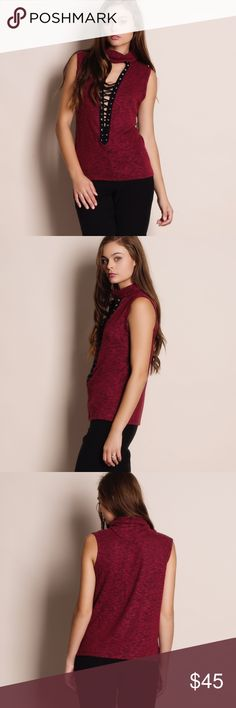 """Mock Neck Lace Up Top Mock neck lace up top. Available in grey and burgundy. This listing is for the BURGUNDY. Runs TRUE TO SIZE. This is an ACTUAL PIC of the item - all photography done personally by me. Model is 5'9"""", 32""""-24""""-36"""" wearing the size small. NO TRADES DO NOT BOTHER ASKING. Bare Anthology Tops Blouses"""