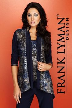 Mirella's Ladies Boutique ~ cardigan and matching tank top in pewter & navy for FLD Fall 2012 at mirellas.ca