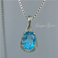 Sky Blue Topaz Necklace Sterling Silver 8x6mm Oval by Gusgusgems