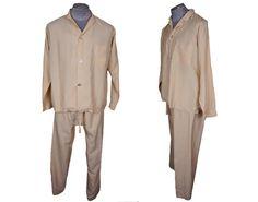 Vintage 1960s Cream Silk Pyjamas  2 piece by CoolFoolVintage