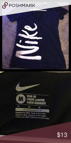🌟Black Nike Shirt‼️BUNDLE ME Black with gold & white lettering Nike Logo shirt. Good gently used condition.Bundle to save. 20% off 3 or more items. Come check out my closet!I have lots of cute things! Fast shipper, Top Rated Seller!‼️ Trade Value/18$ Nike Tops Tees - Short Sleeve