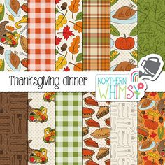 Thanksgiving Dinner Patterns by Northern Whimsy Design on @creativemarket.  Perfect graphics for DIY projects, cards, wedding invitations, greeting cards, identity, packaging design, cases, photos, posters, bags, wall art, logos, quotes, blogs, website, banners and more. **Affiliate Link**