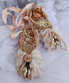 Shabby Ballet Pointe Shoes Ballet Wall Decor Shabby Cottage | Etsy Pearl Necklace Vintage, Vintage Pearls, Vintage Lace, Shabby Cottage, Cottage Chic, French Cottage, Shabby Chic, Dance Decorations, Baby Shower Decorations