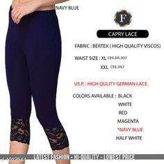 Leggings & Tights  Fabulous Women's Legging Fabric: Vertex Waist Size: XL- 26 in To 30 in , XXL - 32 in To 34 in Length: Up To 34 in Type: Stitched Description: It Has 1 Piece Of Women's Trouser  Work:  Capri Lace Work Sizes Available: XL, XXL *Proof of Safe Delivery! Click to know on Safety Standards of Delivery Partners- https://ltl.sh/y_nZrAV3  Catalog Rating: ★4.2 (4835)  Catalog Name: Alexandra Fabulous Vertex Womens Leggings Vol 1 CatalogID_121886 C79-SC1035 Code: 012-1012544-