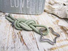 Schlüsselanhänger ♥ Leder ♥ Stern mint