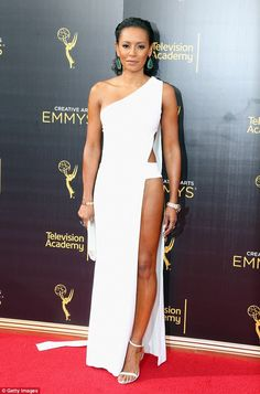 Attention grabbing: Melanie Janine Brown, better known as Mel B, flashed a lot of flesh as she stepped out for night one of the 2016 Creative Arts Emmy Awards in Los Angeles on Saturday
