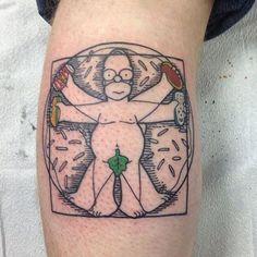 "@rozlyndubz ""The Vetruvian Homer"" ------------------------------------------ #thesimpsonstattoo #thesimpsons #simpsonstattoo #simpsons #tattoo #moe #inked #tat #tattyslip #simpsonsfan #homer #bart #lisa #maggie #marge #mattgroening #futurama #cartoontattoo #cartoontats #epictattoo #simpsonstat #vetruvianmantattoo #vetruvianman"