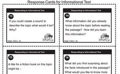 FREE INFORMATIONAL TEXT LITERATURE RESPONSE CARDS!