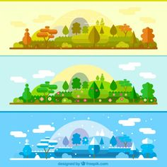 The same landscape in different seasons banners Free Vector