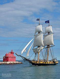 Tall ships in Sturgeon Bay & Sturgeon Bay Lighthouse, Wisconsin