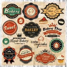 Collection of vintage retro grunge food labels, badges and icons - buy this stock vector on Shutterstock & find other images. Vintage Logo, Vintage Labels, Vintage Design, Retro Vintage, Vintage Style, Vintage Bakery, Vintage Inspired, Vintage Colors, Cupcake Clipart
