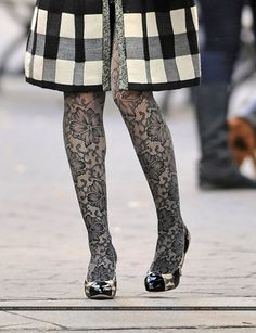 Black Floral Hosiery. Worn by Blair Waldorf. Apparently.