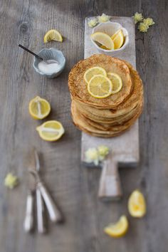 lemon and sugar; simple but always works.I love my Leon Cook Book (Naturally Fast Food) and had been wanting to try the Saturday Pancakes for ages, this recipe uses buckwheat flour which makes these wheat-free!Recipe adapted from Leon (feeds 4)Ingredients3 eggs125g…