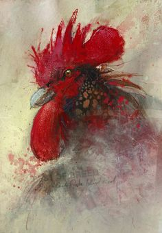 """Artist John Lovett - """"Rhode Island Red – Best of Breed"""" Gouache, Acrylic, Ink, Watercolor and Charcoal."""