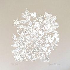 """Shade Garden"" Original hand-cut papercut artwork: 16 inches square"