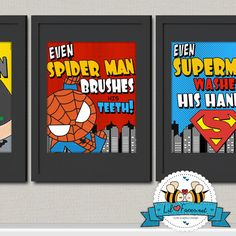INSTANT DL - Superhero Childrens Bathroom Art Prints, set of 3 - prin…