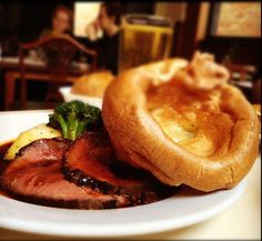 Yorkshire pudding was originally devised in order to stretch the Sunday beef roast further, utilizing the beef drippings to produce an airy and custardy unleavened bread. Similar to popovers but with an extrasavory kick from its suet base, it's intensely crave-worthy and often the highlight of the meal.  Source: Flickr user betsyweber