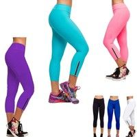 Women's Candy Color Ninth-Pointed SportsWear Zip Tights Leggings New Sale Pants    Material Cotton B