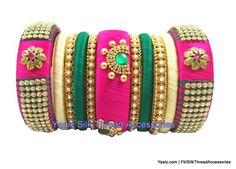 Yaalz Heavy Bridal Partywear Bangles Set In Green & Pink Colors