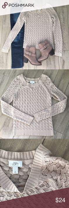 Loft Crewneck Sweater This is the perfect sweater to take you from summer to fall. It's lightweight and super cute. Gently loved condition. (Get the whole look! Shoes and jeans available)  LOFT Sweaters Crew & Scoop Necks