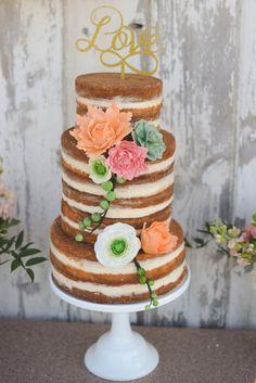 Rustic Glam Wedding - beautiful 'naked' cake