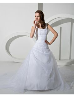 A-line Scoop Sleeveless Organza White Wedding Dresses Scoop Wedding Dress, Wedding Dresses With Straps, Cute Wedding Dress, Prom Dresses For Sale, Tea Length Wedding Dress, Fall Wedding Dresses, Colored Wedding Dresses, Wedding Dress Styles, Wedding Gowns